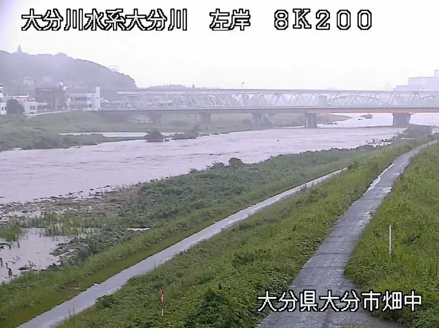 大分川氾濫のライブカメラ映像